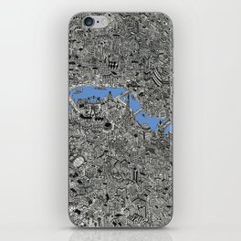 Map of London Thames Drawing iPhone Skin