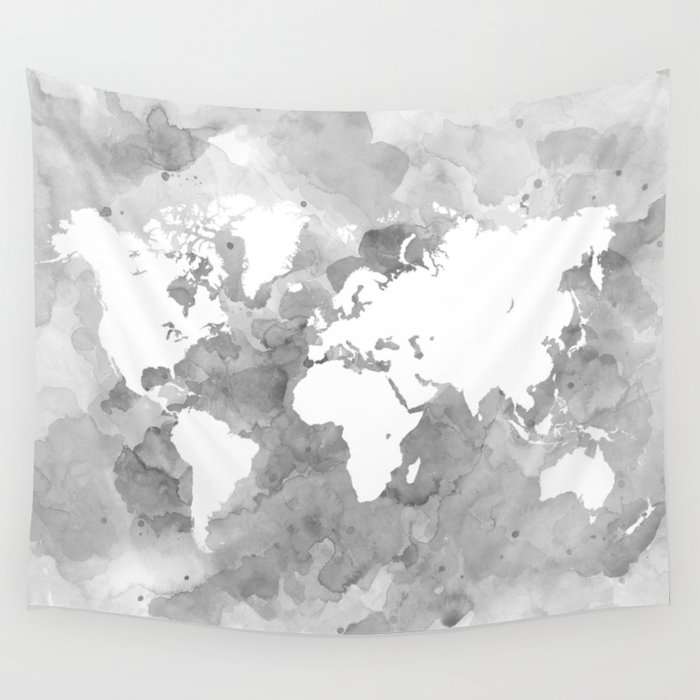 Design 49 grayscale world map wall tapestry by artbylucie society6 gumiabroncs