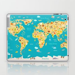Animal map for kid. World vector poster for children, cute illustrated Laptop & iPad Skin