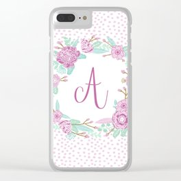 Monogram A - cute girls purple florals flower wreath, lilac florals, baby girl, baby blanket Clear iPhone Case
