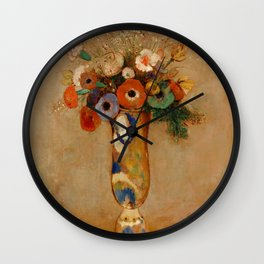 """Odilon Redon """"Wildflowers in a Long Necked Vase"""" Wall Clock"""