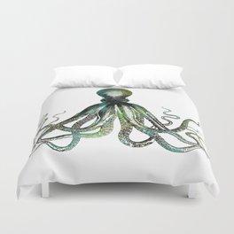 Octopus marine life watercolor art Duvet Cover