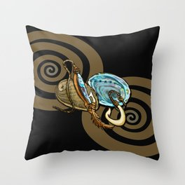 Abalone with Historic Maori Fishing Hooks Throw Pillow