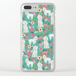 Cockapoo floral dog breed dog pattern pet friendly cocker spaniel poodle Clear iPhone Case