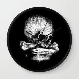 Skull on Pedestal Wall Clock