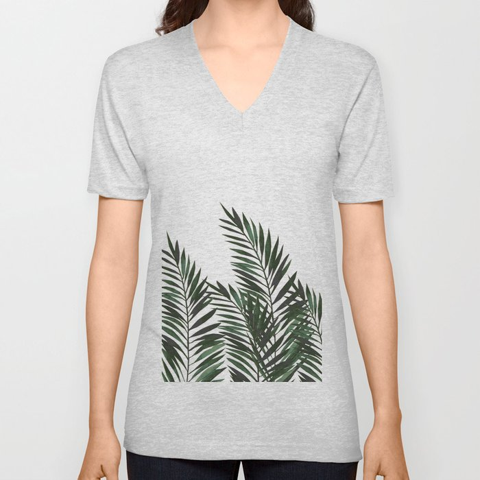Palm Leaves Green Unisex V-Neck