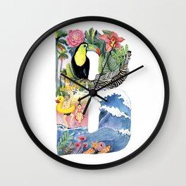 letter B tropical summer and toucan Alphabet Wall Clock