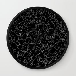 Cubic B&W inverted / Lineart texture of 3D cubes Wall Clock
