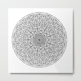 Circle of Life Mandala Black and White Metal Print