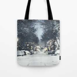 Montreal Snowy winter street Tote Bag