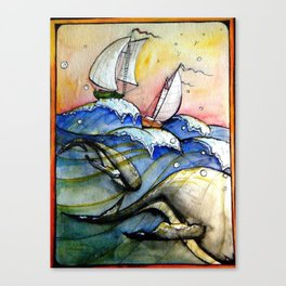 Ships Over Whales Canvas Print