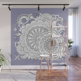zen-tangle composition with mandalas and flowers Wall Mural