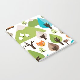 Wild camping trip with fox and wild animals illustration Notebook