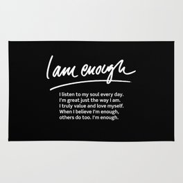 Wise Words: I am enough + text Rug