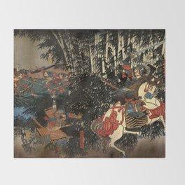 War in 1100's in Japan Throw Blanket