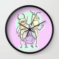 bugs Wall Clocks featuring Bugs by Sonia Lazo