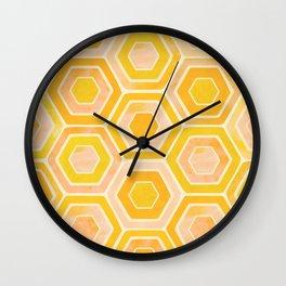 Golden Tiles Watercolor Wall Clock