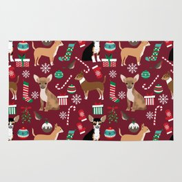 Chihuahua christmas presents dog breed stockings candy canes mittens Rug