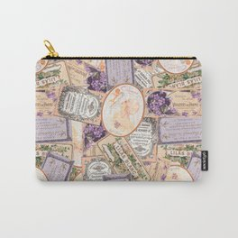 Vintage Labels in Purple + Peach Carry-All Pouch