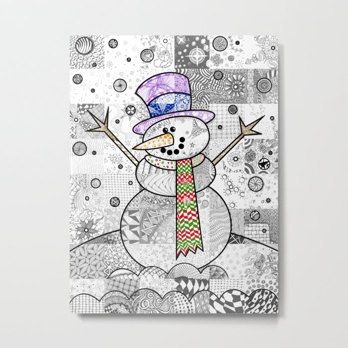 Coloured Snowman Metal Print