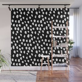 Handdrawn drops and dots on black - Mix & Match with Simplicty of life Wall Mural