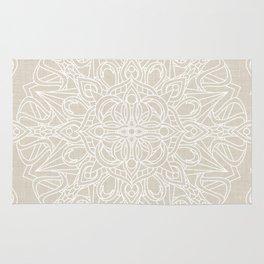 White Lace Mandala on Antique Ivory Linen Background Rug
