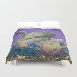 Grungy White Swan & Water Lilies Lilac Art Patterns Duvet Cover