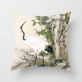 Crane and Chinese Roses Throw Pillow