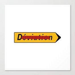 Deviation Road Sign Canvas Print