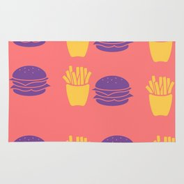 Burger and Fries in Colorful Colors Rug
