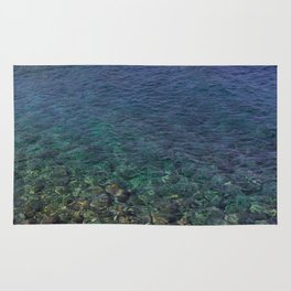 Colorful Transparent Blue and Aqua Sea On Crete Rug