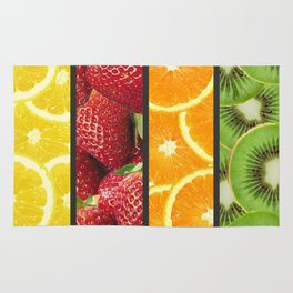 Colorful Fruit Grid Collage Rug