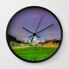 The Capitol Building At Night Wall Clock