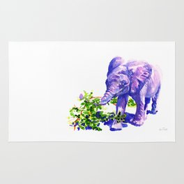 Big Boy, Purple Elephant painting of baby elephant living at David Sheldrik Wildlife Trust in Kenya Rug