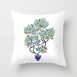 Bonsai Fruit Tree – Blue Palette Throw Pillow