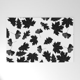 Falling Autumn Leaves in Black and White Welcome Mat