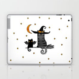 2 cats – Bat and Wizard on a broomstick for Halloween Laptop & iPad Skin