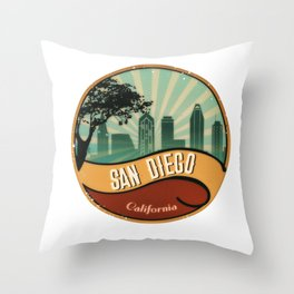 San Diego City Skyline California Retro Vintage Design Throw Pillow
