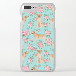 Yellow Labrador Retriever dog breed pet portraits floral dog pattern gifts for dog lover Clear iPhone Case