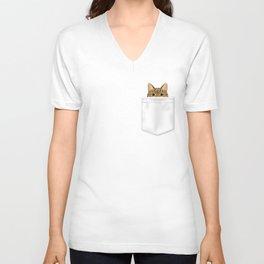 Pocket Tabby Cat Unisex V-Neck