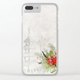 Ink Sketch Pagoda and Red Flowers Clear iPhone Case