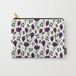 Plum Rose Pattern Carry-All Pouch
