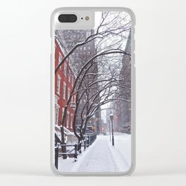 Snow Streets, Washington Square North Clear iPhone Case