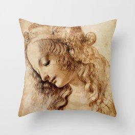 "Leonardo da Vinci ""Woman's head"" 3. Throw Pillow"