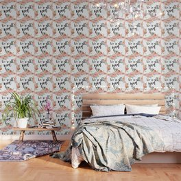 We're all mad here - golden floral Wallpaper