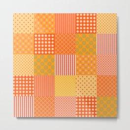 Patchwork Quilt in Oranges and Lemons Metal Print