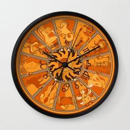 Harley and J Zodiac Orange Wall Clock