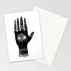 Hand with eye linocut black and white minimal boho third eye hamsa Stationery Cards