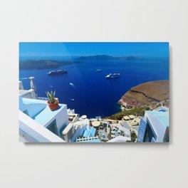 Santorini Caldera Metal Print
