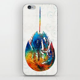 Colorful Horseshoe Crab Art by Sharon Cummings iPhone Skin